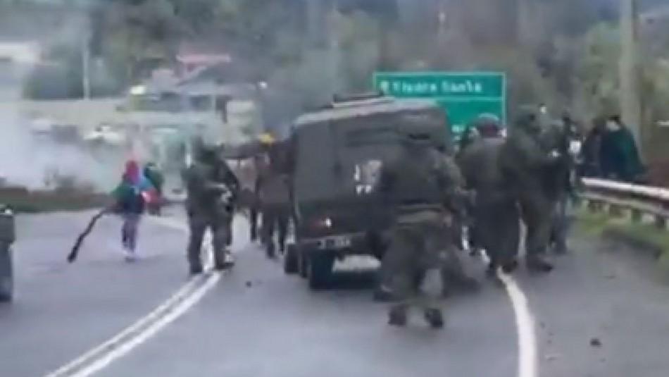 Incidentes en La Araucanía terminan con 5 carabineros lesionados