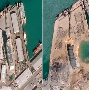 El impactante antes y después del puerto de Beirut tras la enorme explosión