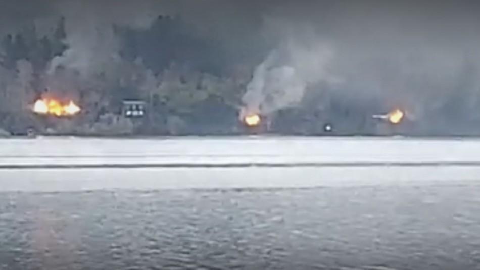 Queman cuatro cabañas en Contulmo tras ataque incendiario