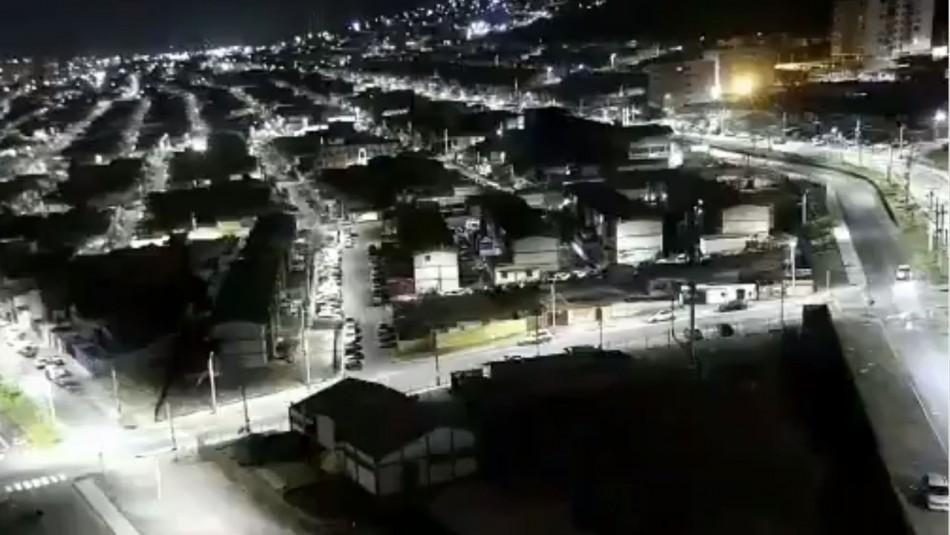 Cámara registra desde altura cómo se vivió el temblor 6.3 en Iquique