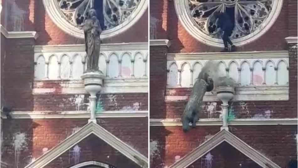 Video muestra momento en que encapuchado derriba figura religiosa de la iglesia de Carabineros