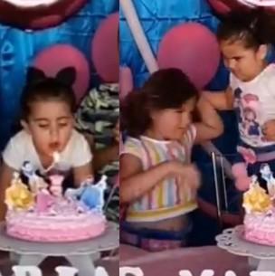 Habla la autora del polémico video donde dos niñas pelean por soplar las velas de un pastel
