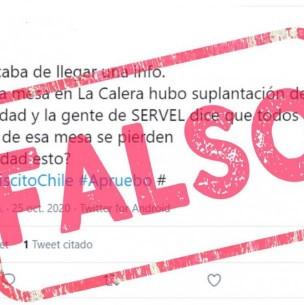 Servel desmiente información de suplantación de identidad en mesa de votación de La Calera