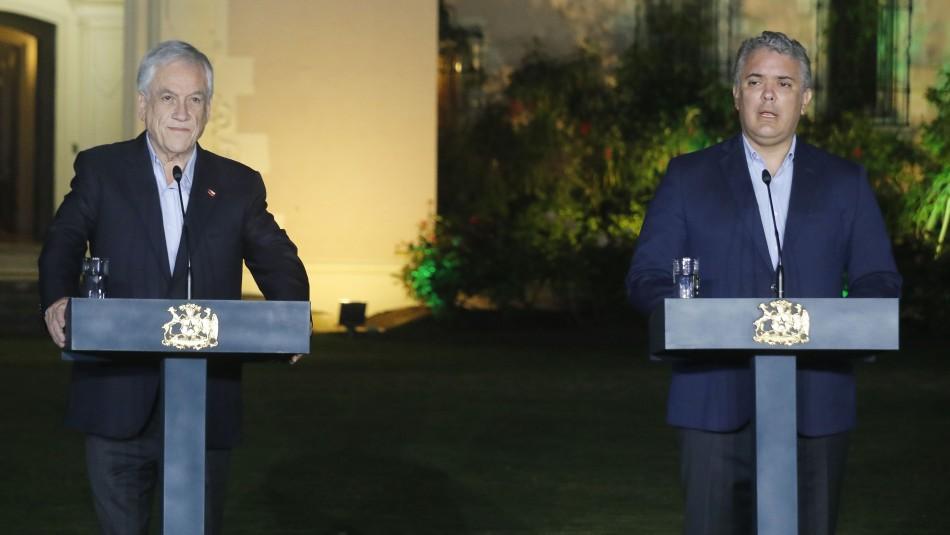 Piñera sostuvo reunión con presidente colombiano Iván Duque en palacio de Cerro Castillo