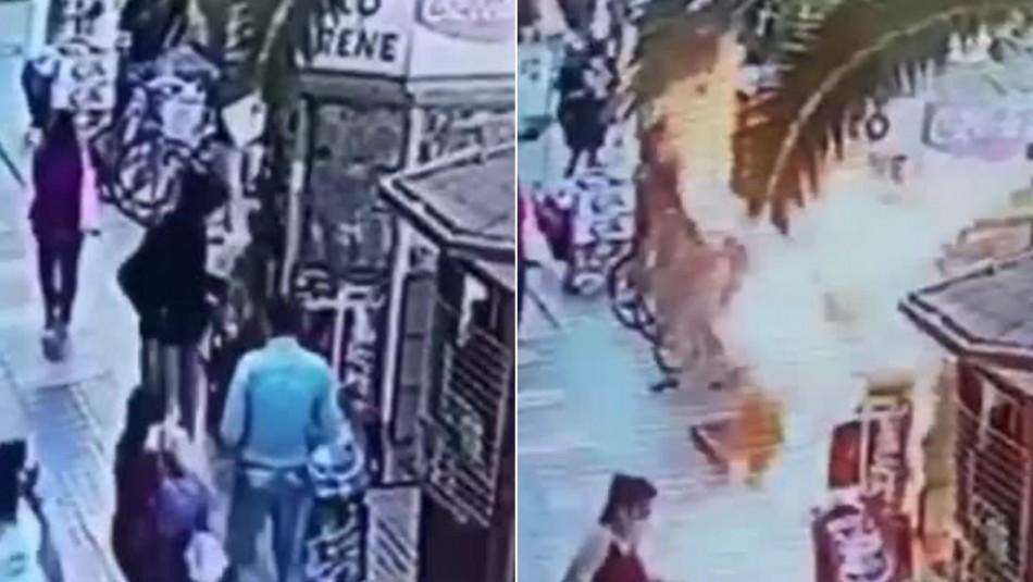 Video muestra a sujeto quemando un kiosko en Melipilla tras rociarlo con líquido acelerante