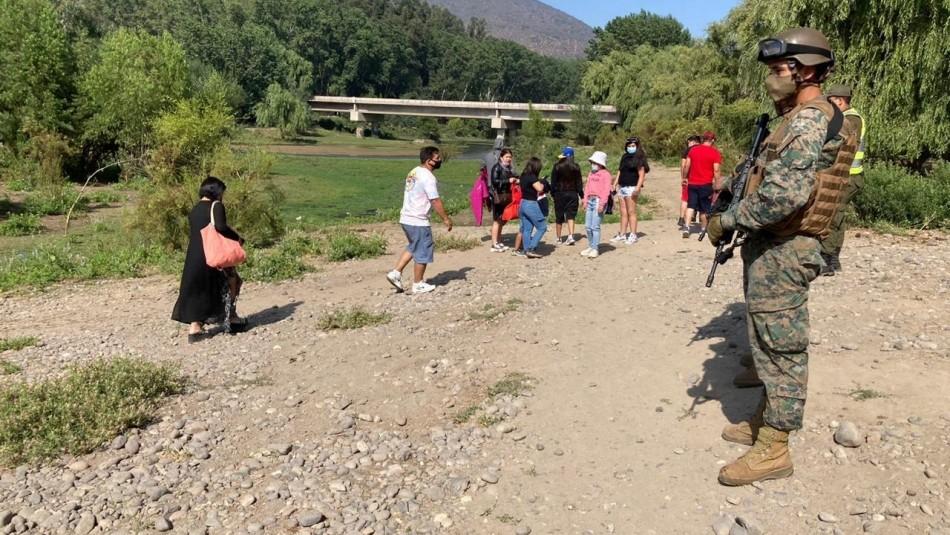 No respetaron cuarentena: Detienen a 35 personas que llegaron hasta ribera de río en Buin