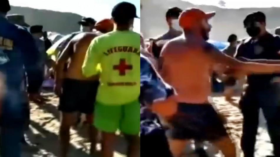 Sin mascarillas: video registra pelea en concurrida playa de Algarrobo