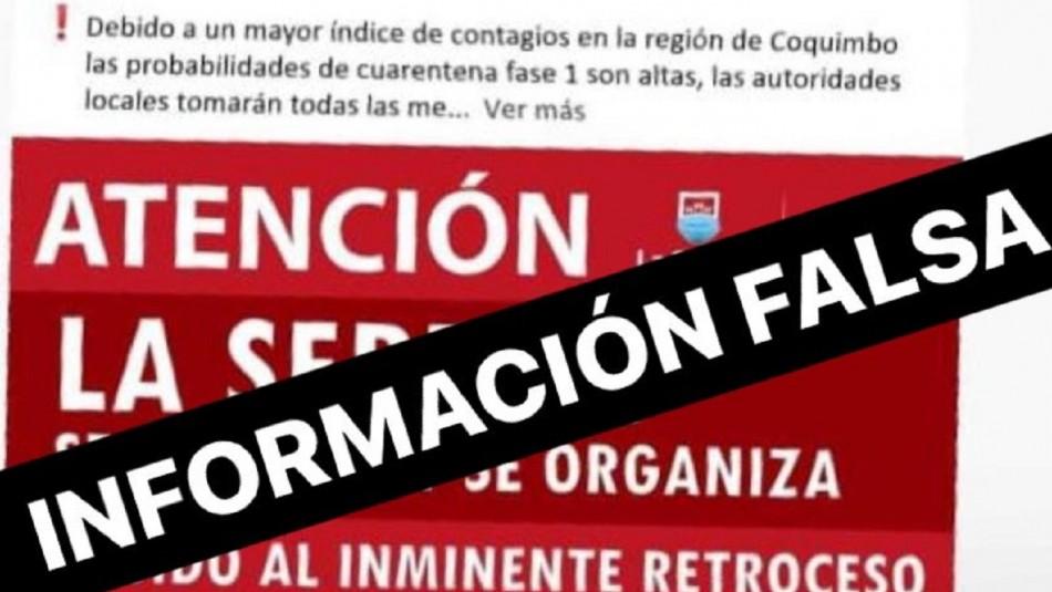 Información falsa por cuarentena en La Serena.