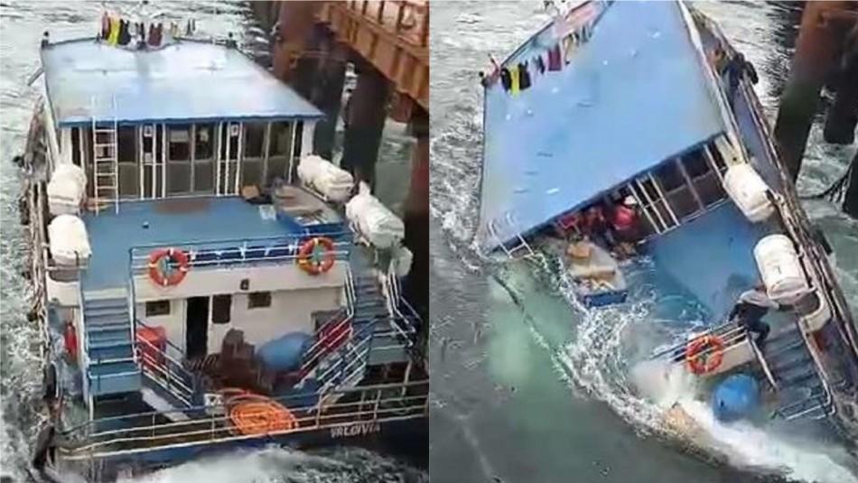 Video muestra hundimiento de embarcación en canal de Chacao con tripulantes a bordo