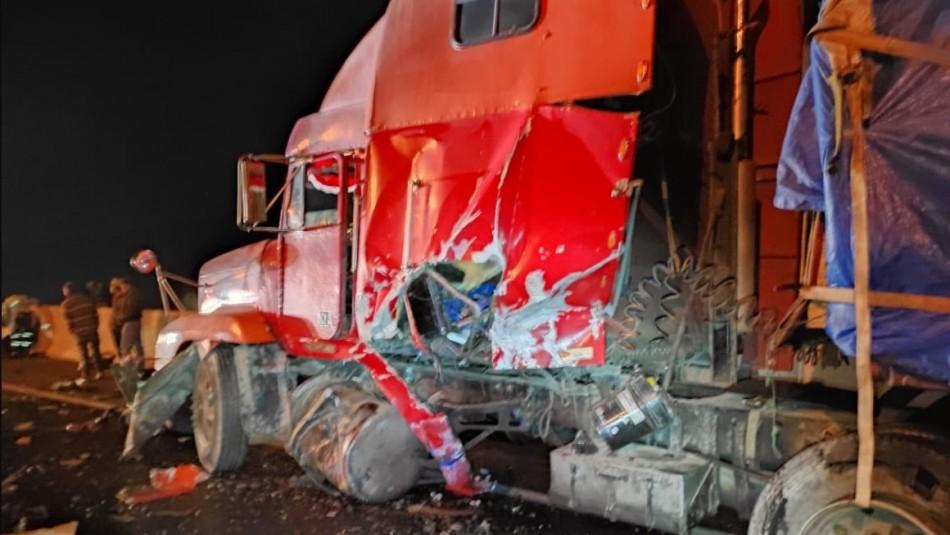 Choque de camiones deja un fallecido en Ruta 5 Norte a la altura de Vallenar