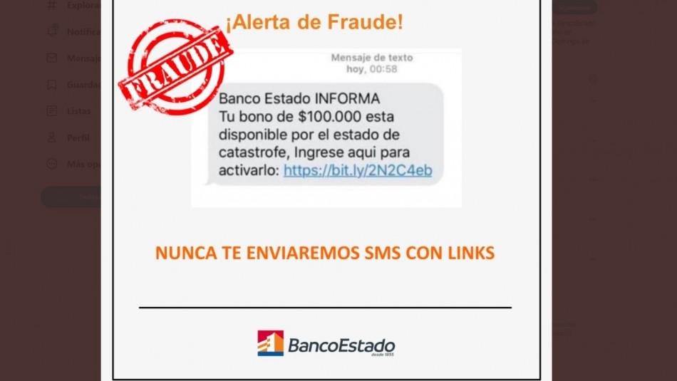 Ofrecen bono de $100 mil: BancoEstado advierte sobre nueva estafa a través de mensaje de texto
