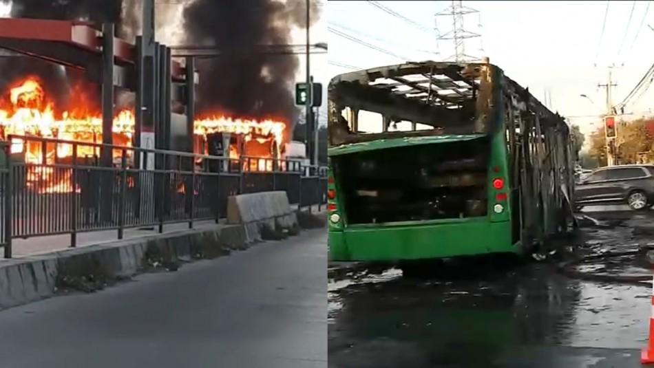 Video registra quema de un bus del Transantiago en Pedro Aguirre Cerda