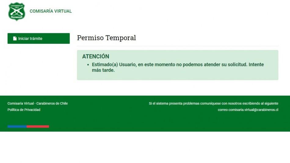 Comisaría Virtual: Usuarios reportan problemas para obtener permisos de desplazamiento