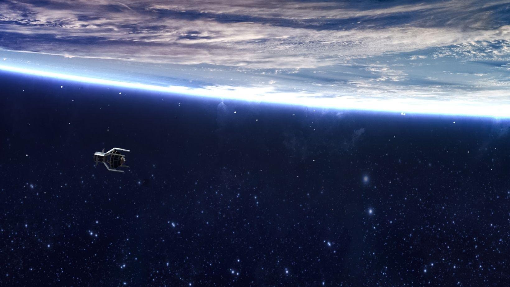 Visualización del ClearSpace-1 en el espacio
