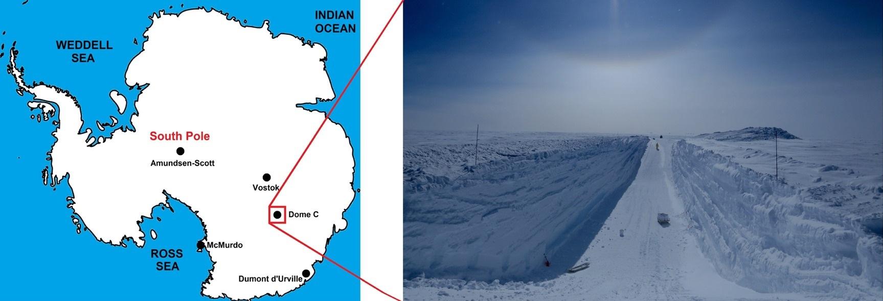 Sitio de la investigación en Antártica