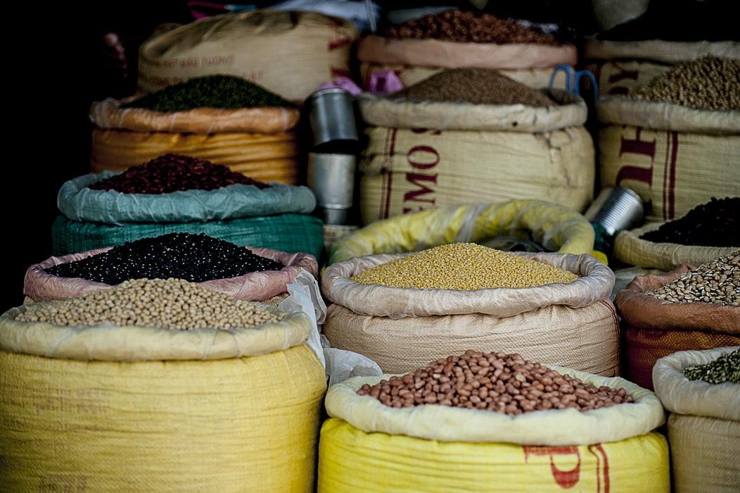 Sacos de legumbres secas