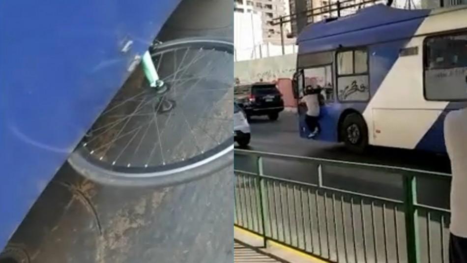 Video registra cómo una micro arrastra la bicicleta de un repartidor en Santiago