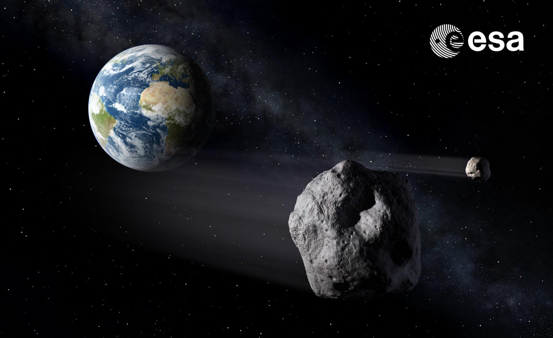 Illustrazione di un asteroide vicino alla Terra