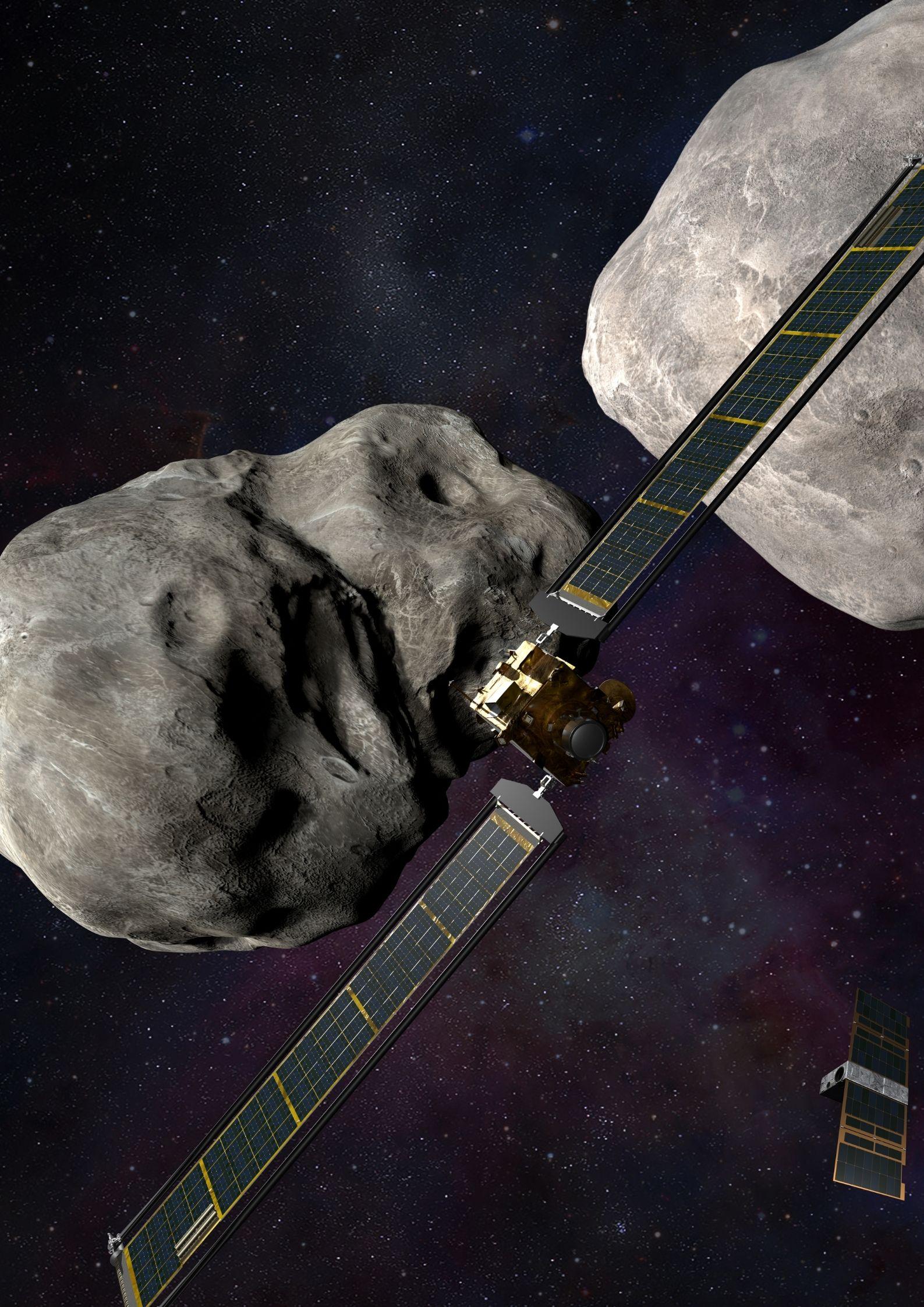 Illustrazione della sonda DART con l'asteroide Didymos