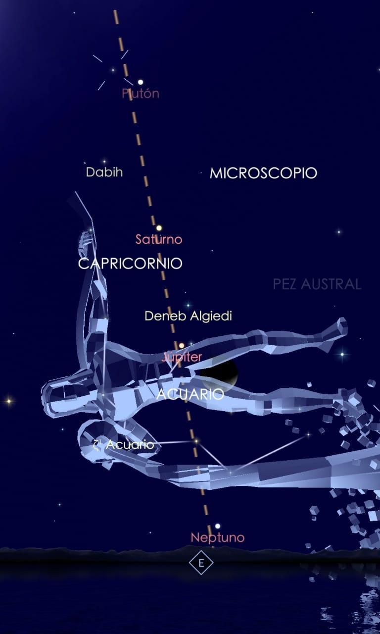 Ubicación de la constelación de Acuario en el cielo chileno según aplicación Sky Walk 2