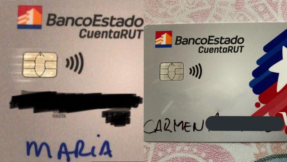 Clientes de Banco Estado reciben nueva tarjeta de Cuenta Rut escrita con plumón