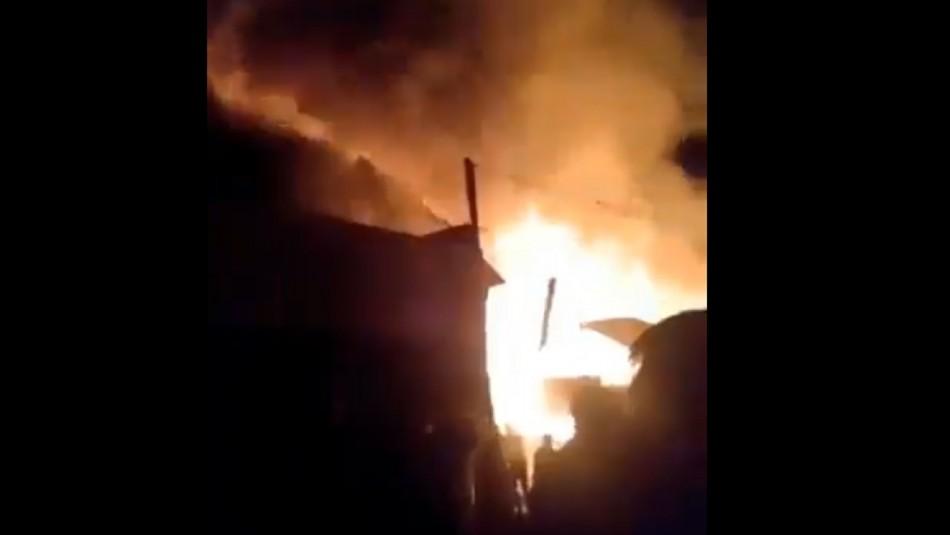 Registros del incendio que dejó siete viviendas destruidas en campamento de La Florida