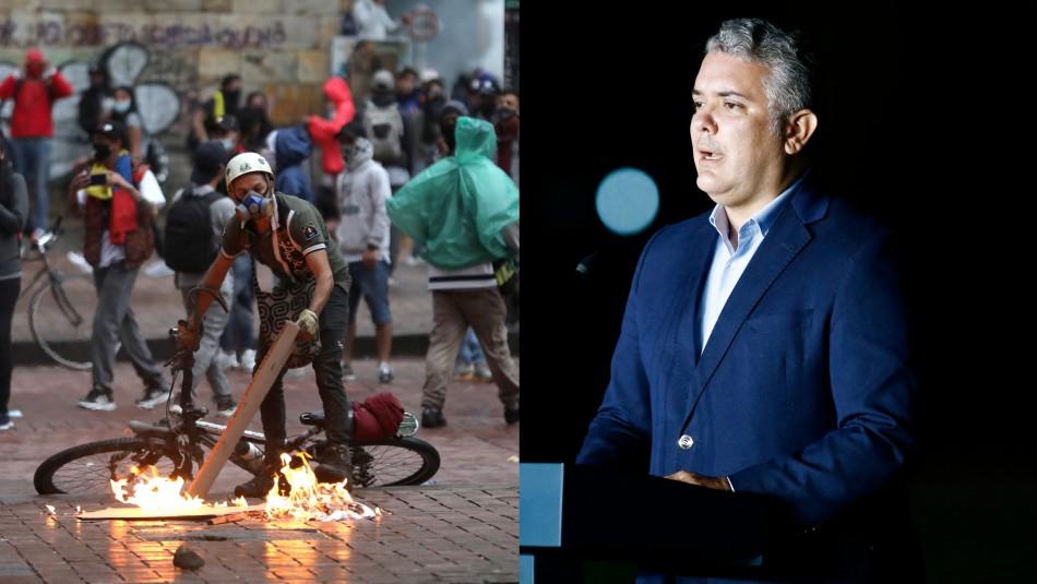 Presidente de Colombia ofrece millonaria recompensa por denunciar vandalismo en protestas
