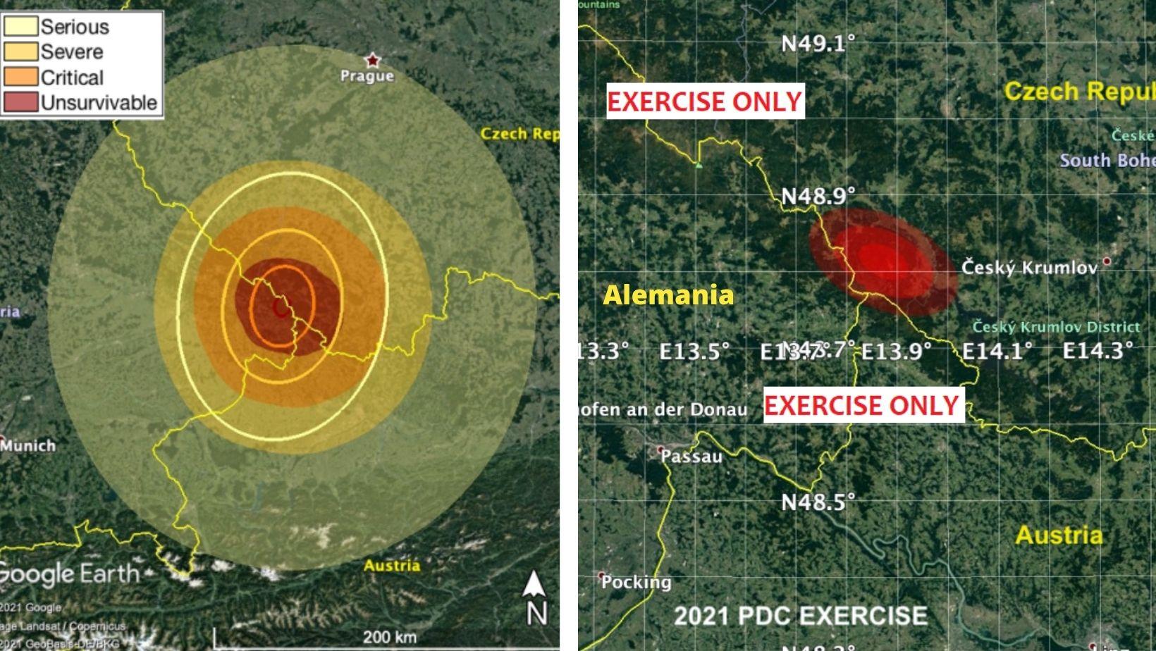 Estimación de la superficie de daño del meteorito ficticio durante el ejercicio