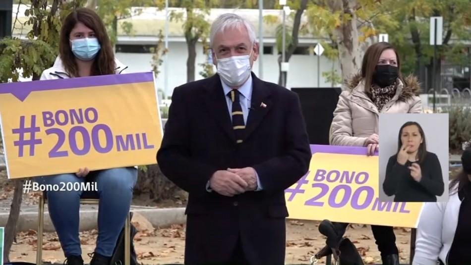 Bono de $200 mil: Piñera promulga beneficio que comenzaría a pagarse la próxima semana
