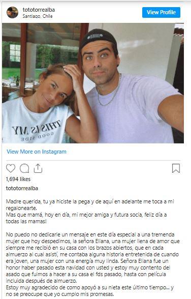 Publicación del pololo de Kel Calderón
