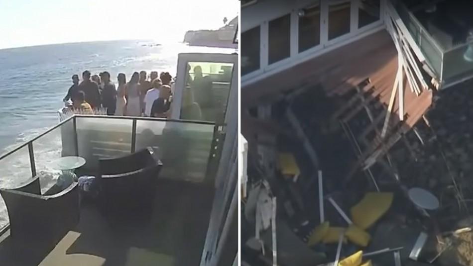 Alquilan casa para fiesta en la playa y se desploma balcón por exceso de peso: Dos están graves