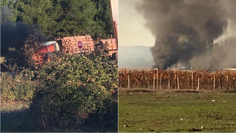 Enfrentamientos y quema de camiones en ruta que une Los Sauces y Lumaco