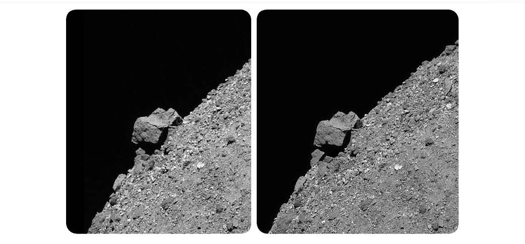 Imágenes tomadas por OSIRIS-REx de la superficie del asteroide Bennu