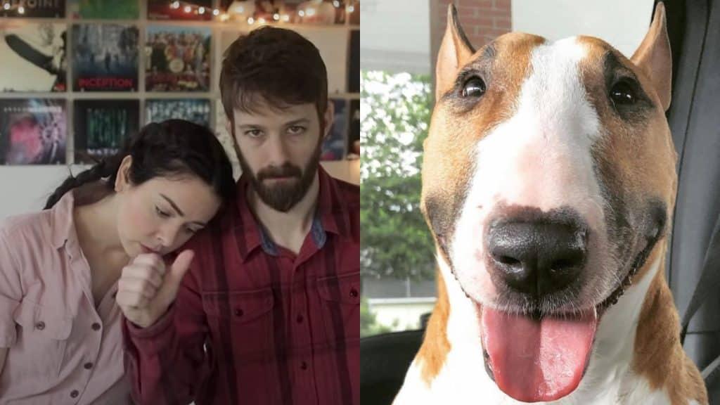 Nikki y Dan Philippi junto al perro que durmieron