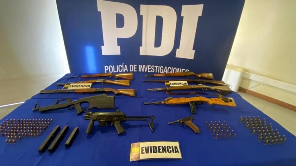 12 armas de fuego incautadas por la PDI de Puente Alto.