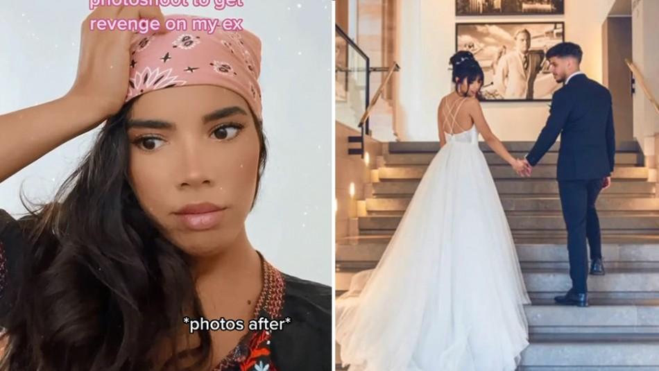 Mujer finge la boda de sueños en un salón de lujo para provocarle celos a su exnovio