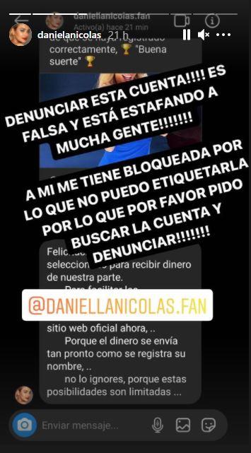 Daniela Nicolás alerta estafa a su nombre en Instagram