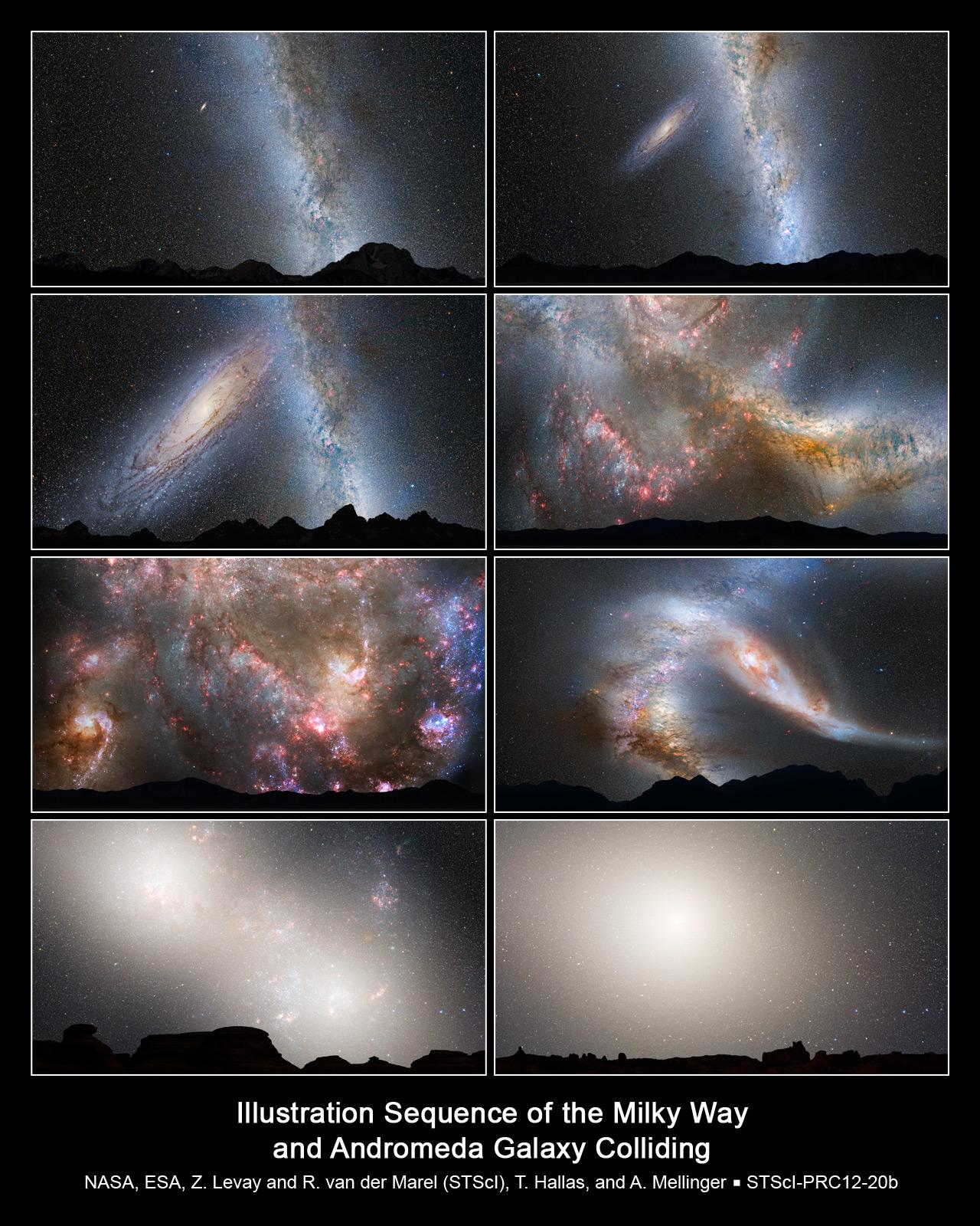 Interpretazione della NASA di come sarà la fusione della Via Lattea con Andromeda