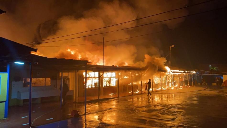 Incendio afectó a fábrica de muebles en La Pintana: fuego destruyó un colegio aledaño