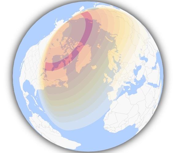 Mapa 3D. La zona de color rojo podrá ver el eclipse anular en su máxima expresión