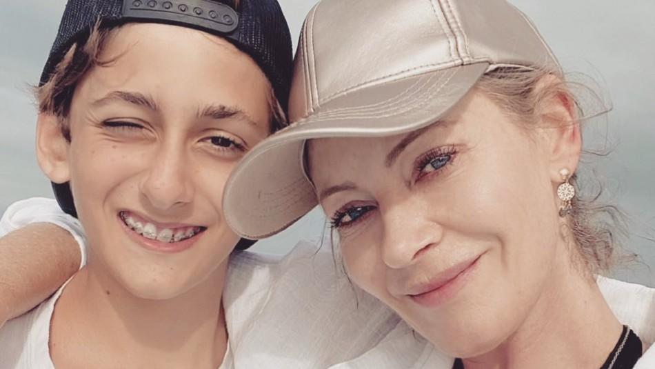 Marcela Vacarezza y su hijo