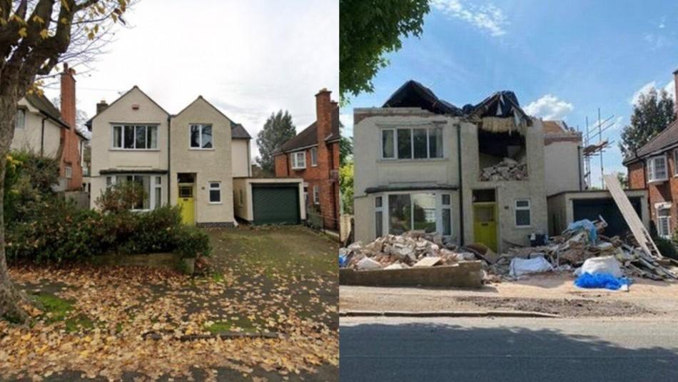 El antes y después de la casa tras la destrucción.