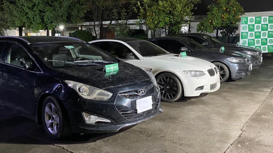 Carabineros recupera cuatro vehículos de alta gama sustraídos en encerronas