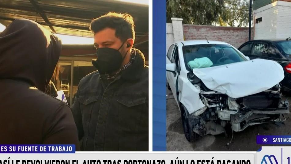 Víctima de portonazo recibe auto destruido pero sigue pagando: