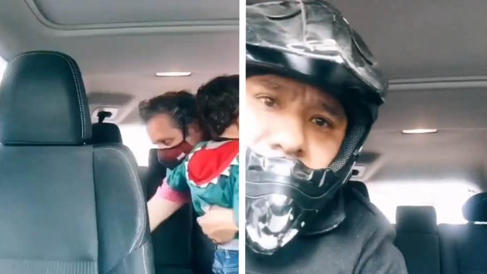 Hombre sufre violento robo de su auto mientras hacía video de TikTok junto a su pequeño hijo
