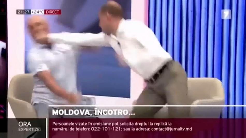Debate televisado termina en escandalosa pelea entre dos políticos en Moldavia