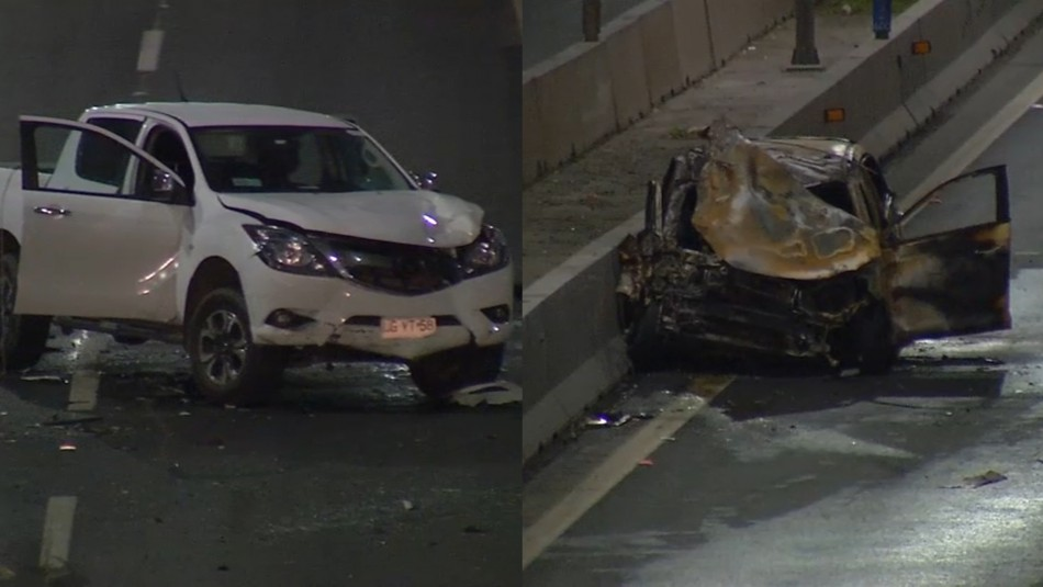 Auto donde iba el presidente del CDE atropella a peatón en autopista y provoca choque donde auto resulta incendiado
