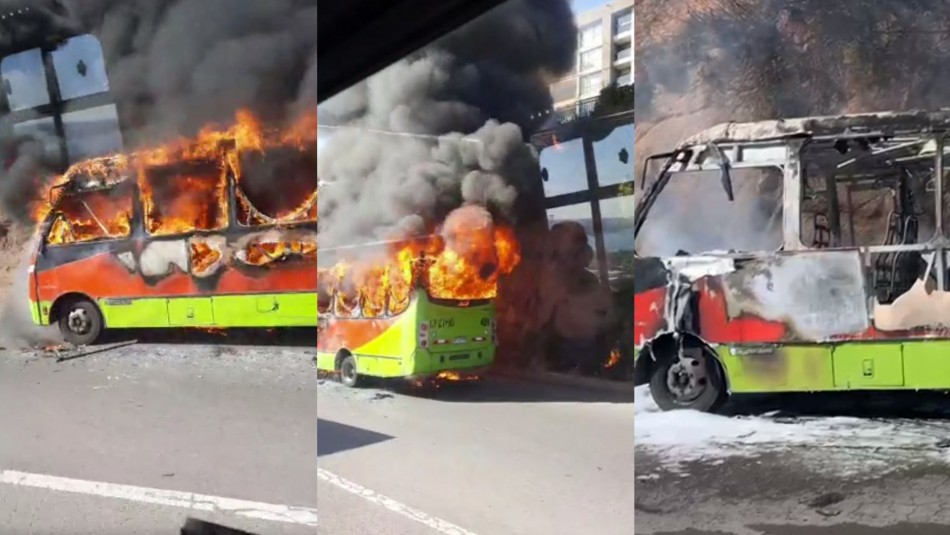 Video muestra un microbús que iba en recorrido completamente incendiado en Viña del Mar