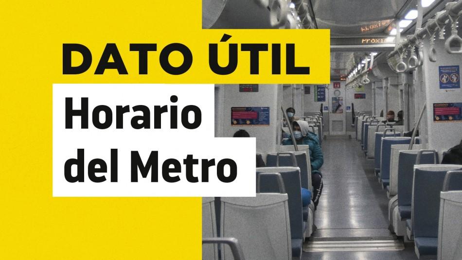 Horario del Metro domingo 29 de agosto