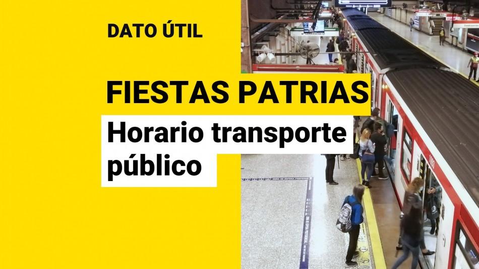 Horario transporte público Fiestas Patrias